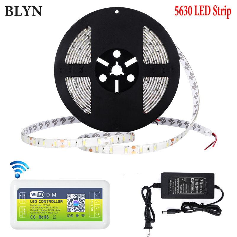 BLYN 5730 5730 Super Bright LED Strip Waterproof 5M WIFI Dimmer Controller Warm White Pure White LED Strips 12V 5A Power Supply jrled 144w 10000lm 3500k 600 5730 smd led warm white light strips 2 pcs 5m dc 12v