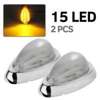 Car LED Interior Dome Light Chrome Yellow Warning Lamp for 12V 24V Truck Trailer Lorry