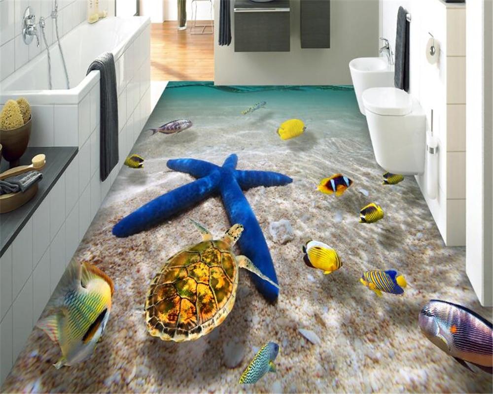 Beibehang Sea World Bathroom Floor Tile Stickers Thick Waterproof