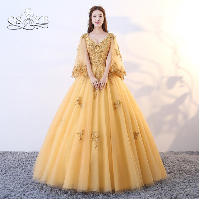 99e88c5abfcd QSYYE 2018 Gold Long Prom Dresses Vintage Saudi Arabia Lace Beaded V Neck  Floor Length Tulle Formal Evening Dress with Cape