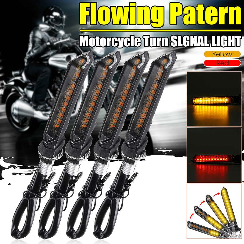2/4x 12V Universal Motorcycle Flowing Water Flicker LED Turn Signal Indicator Light Blinkers Lamps Amber Red