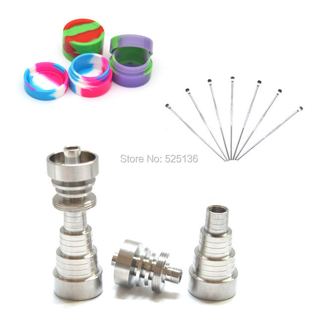 1 set Domeless 6 IN 1GR2 Titanium Nail 10/14/18mm - Male/Female Dabber Carb Cap Silicone Jar Container free shipping