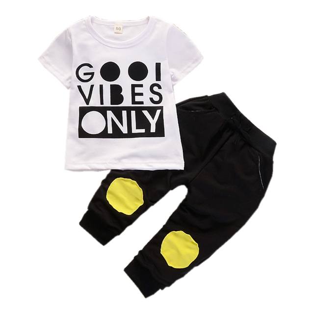 cc7b3636b64 Fashion Children Pure Cotton Clothing Outfits Baby Boy Girl T-Shirt Pants 2  Pcs