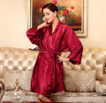 2016 New Silk Satin Kimono Robe Three Quarter Bathrobe Above Knee Bath Robe Sexy Night Robe Elegant Dressing Gown For Women