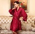 2016 nuevo satén de seda del Kimono del traje de tres cuartos albornoz encima de la rodilla del traje de baño Sexy traje de noche elegante bata para mujeres