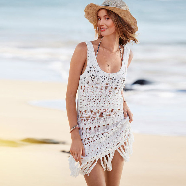 52a96472440 2015 New Lady Swimsuit Cover Up Sexy White Crochet Tank Beachwear Cute Beach  Dress Swimwear Women 41119 Freeshipping