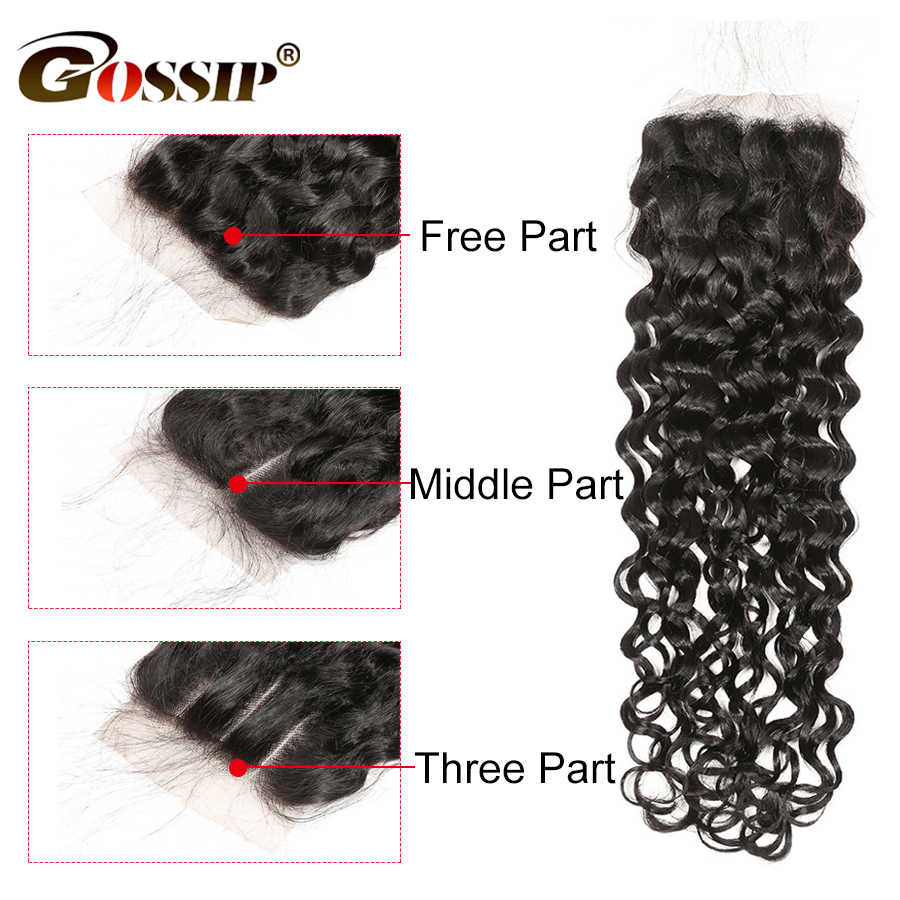 4x4 Closure Brazilian Hair Remy Silk Base Closure Water Wave Closure Gossip 100% Human Hair Pre Plucked Hair Extensions
