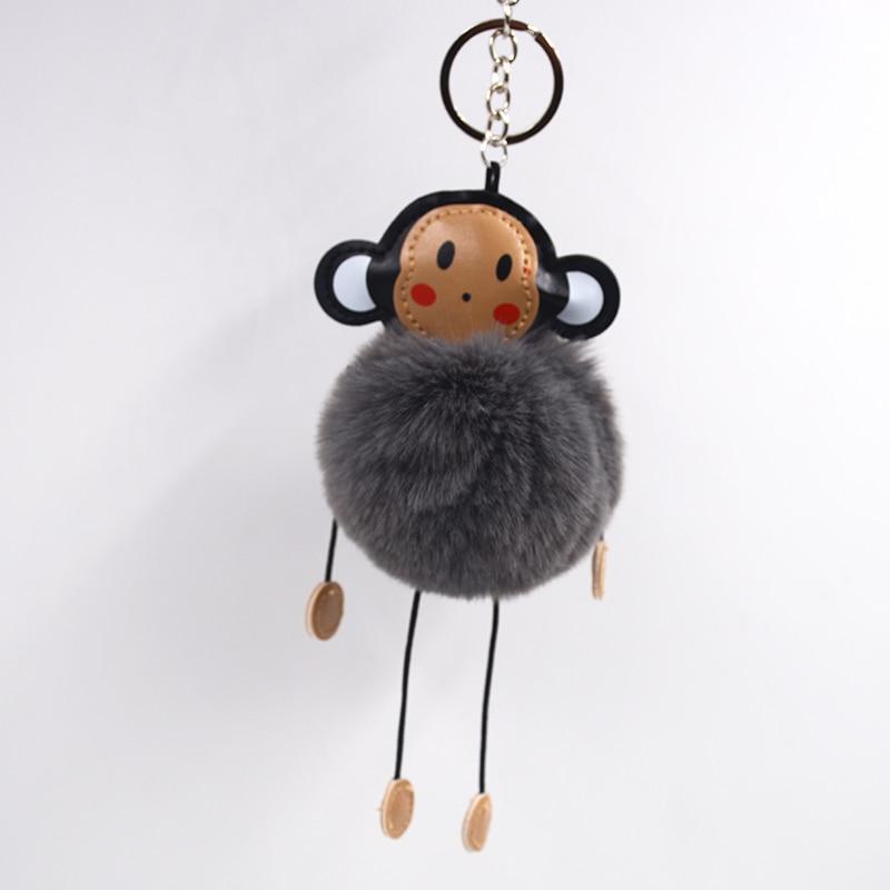 Pompom ball monkey keychains Fur animals key ring women s fashion key chain  rabbit fur Bag Mascots keychain car man key chains 8f9a26d297