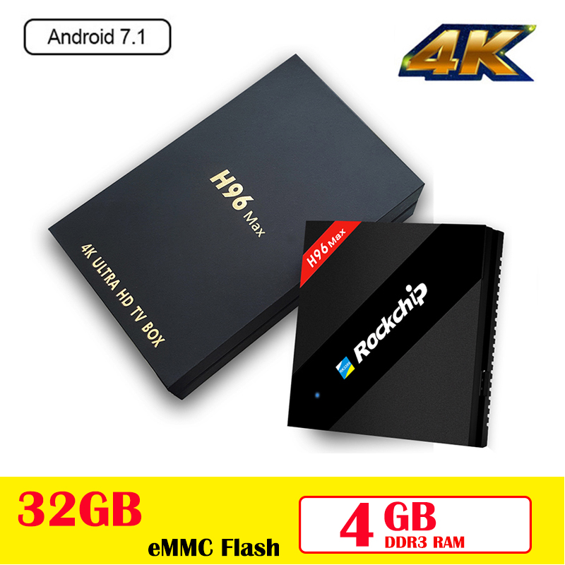 Android 7.1 TV Box H96 MAX RK3399 Quad Core 4GB 32GB Set Top Box 2.4G 5G WiFi 100Mbps USB 3.0 BT 4.0 4K h96 pro MAX Media Player