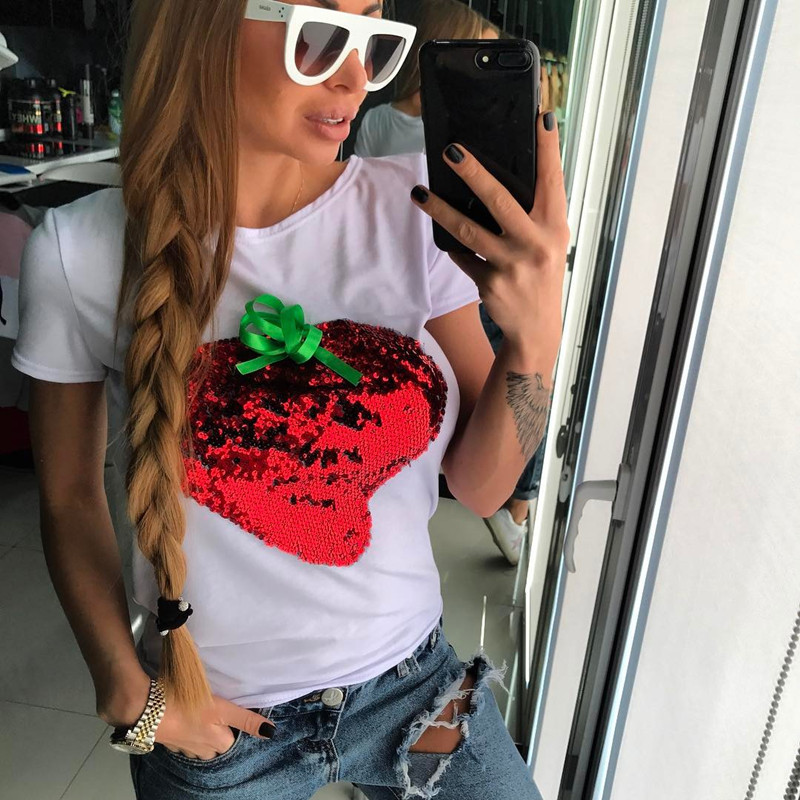HTB158wyQFXXXXcRXpXXq6xXFXXXa - Strawberry Red Sequins Women Casual Short Sleeve Cotton Shirt 2017