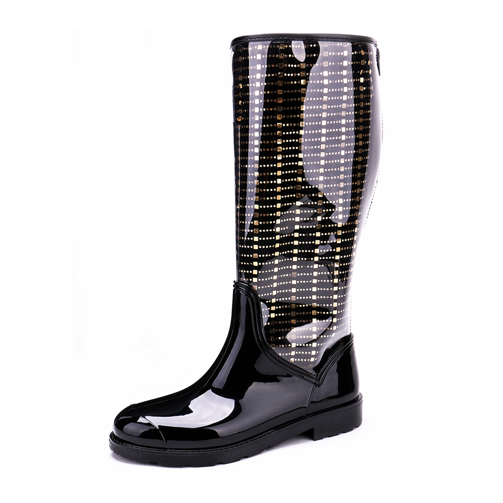 TONGPU Sharon Womens New Design Transparent PVC Upper Removable Lining Back Zipper 2-Pieces Rain Boots