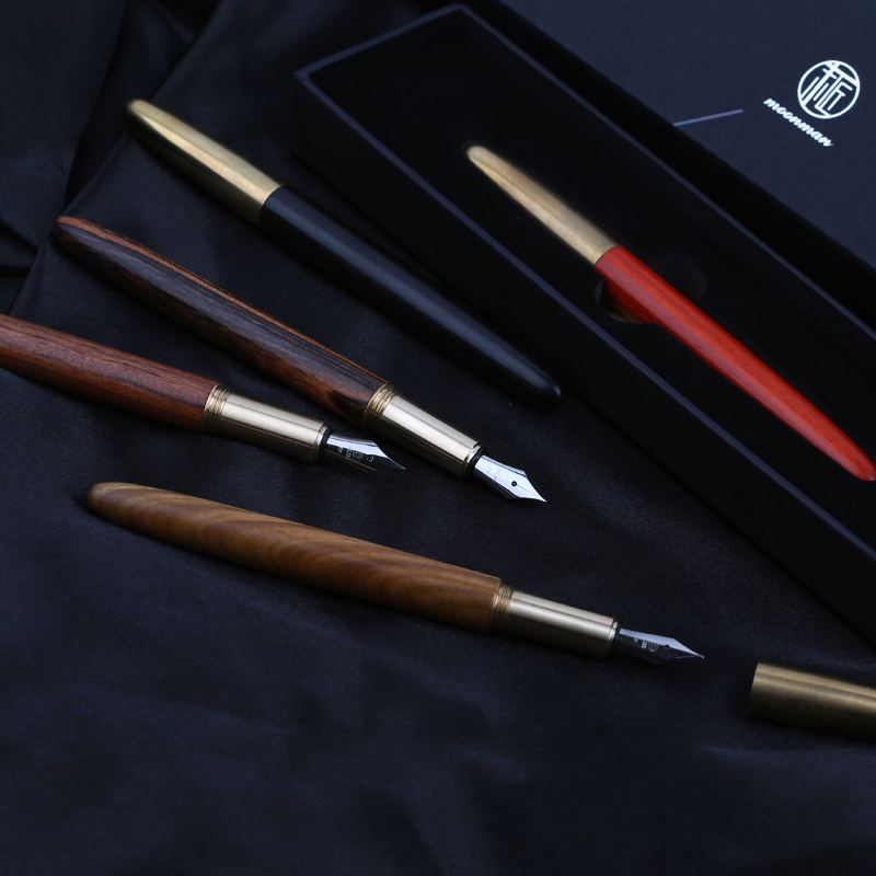 Luxury Small Bent Nib 0.5mm Wood Fountain Pen Retro Copper Cap Art Pens The Best Gift Writing Stationery with A Gift Box most popular duke confucius bent nib art fountain pen iraurita 1 2mm calligraphy pen high end business gift pens with a pen case