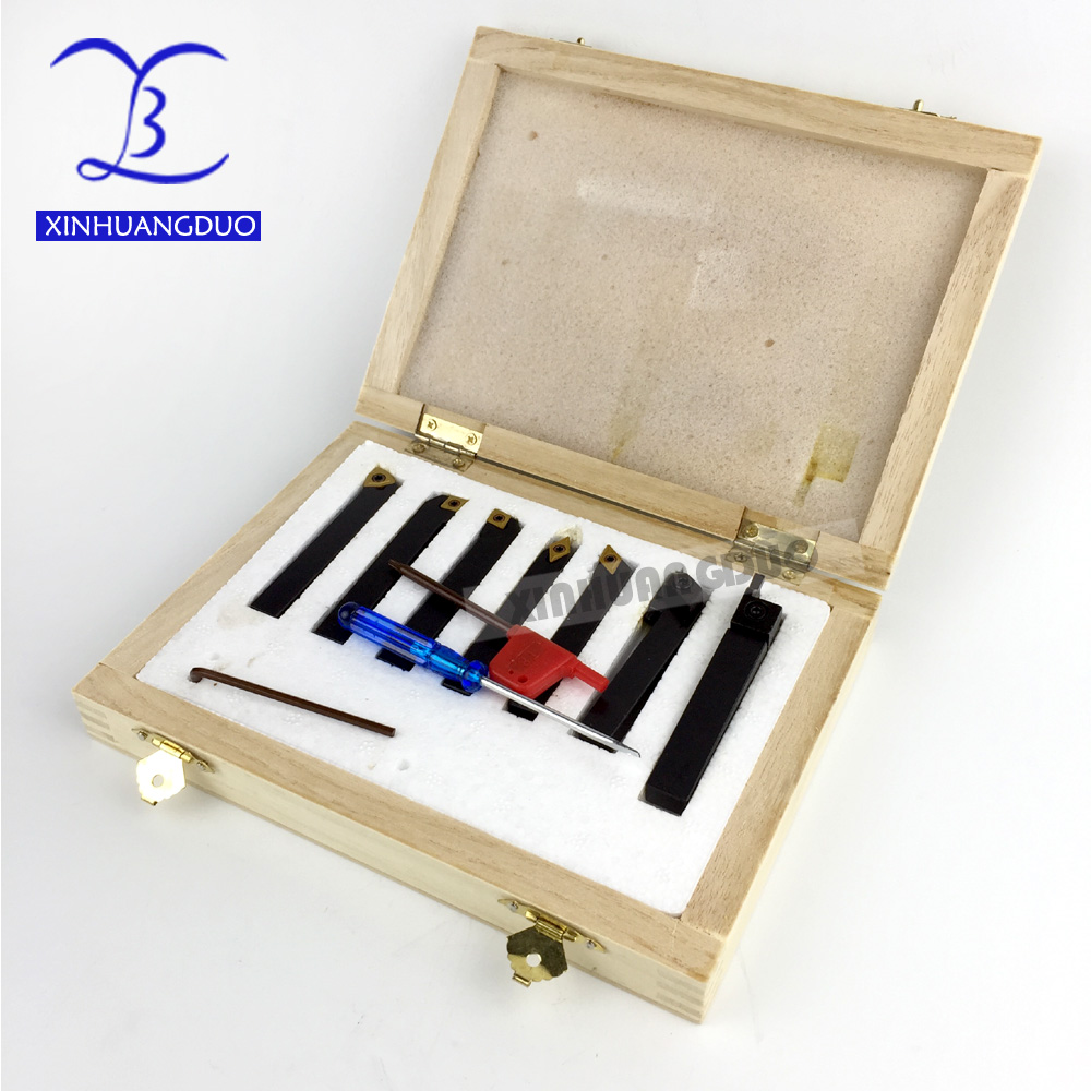 8mm 7pcs set indexable carbide turning lathe cutter tool set with inserts for Mini Lathe Machine