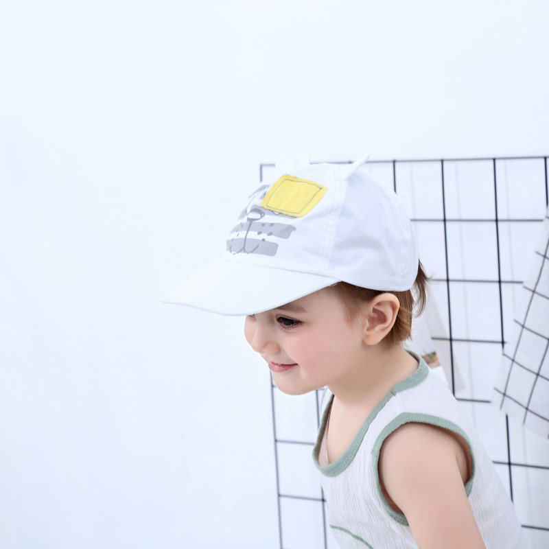 White Baby Baseball Hat Blindfolded Tiger Toddler Kids Boys Girls Sun Protection Cap with Wide Brim Duck Caps Elastic Band Adjustable Size (3)