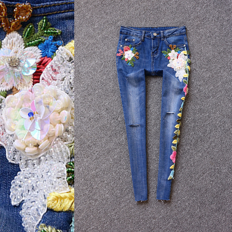 2017 brand ladies fashion luxury embroidery flowers small feet 9 points jeans a three dimensional embroidery of flowers trees and fruits chinese embroidery handmade art design book