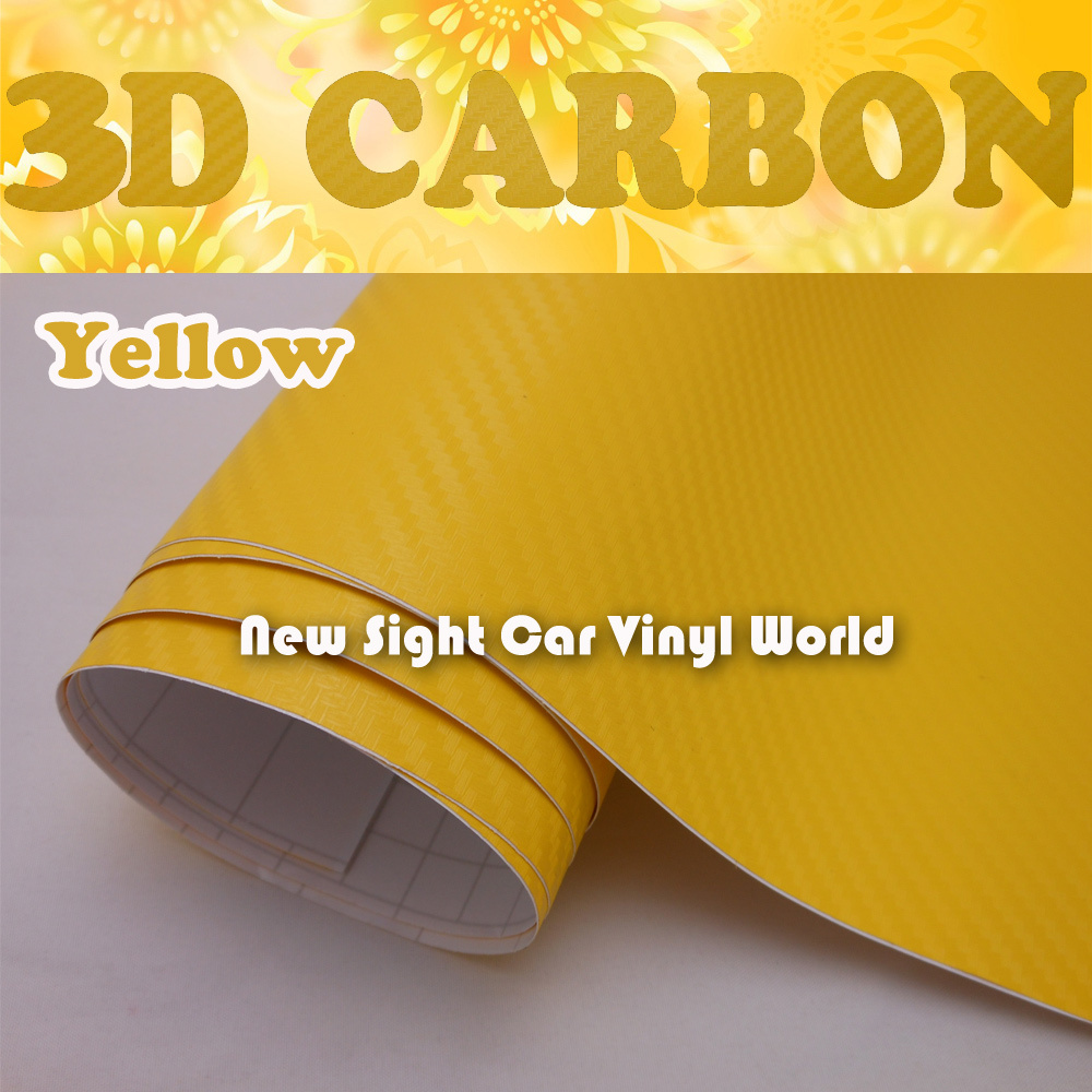 Yellow 3D Carbon Wrap Vinyl Air Free Bubble For Vehicle Decals Size:1.52*30m/Roll