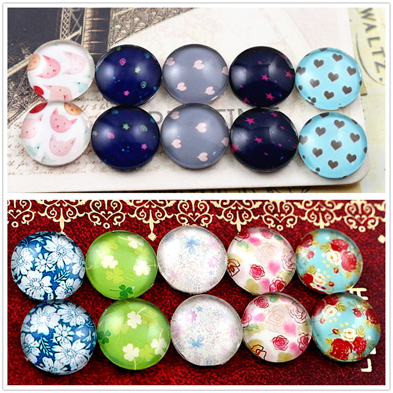 10pcs/lot (One Set) Two Style 12mm Heart Flower Handmade Glass Cabochons Pattern Domed Jewelry Accessories Supplies
