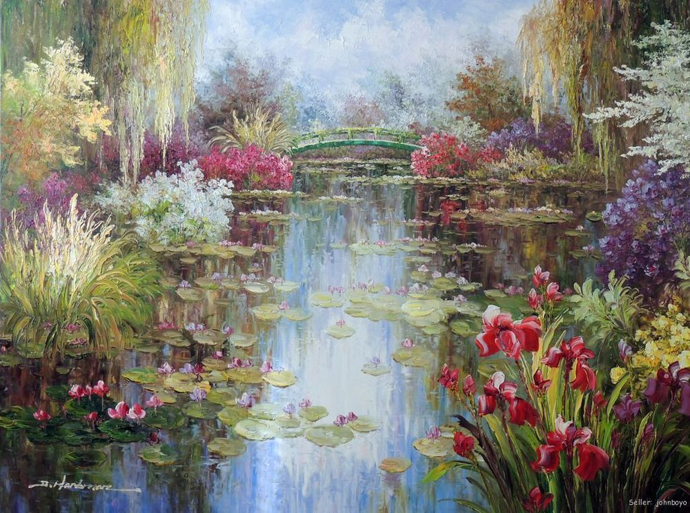 Lily Pond flores Weeping Willow Spring empate sin marco 36 X 48 ...