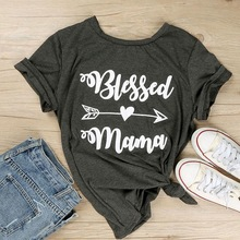 Blessed Mama Letter Printing Women T-Shirt O-Neck Short Sleeve Top Tees Dark Gray Femme Casual Loose Summer t shirt Tops