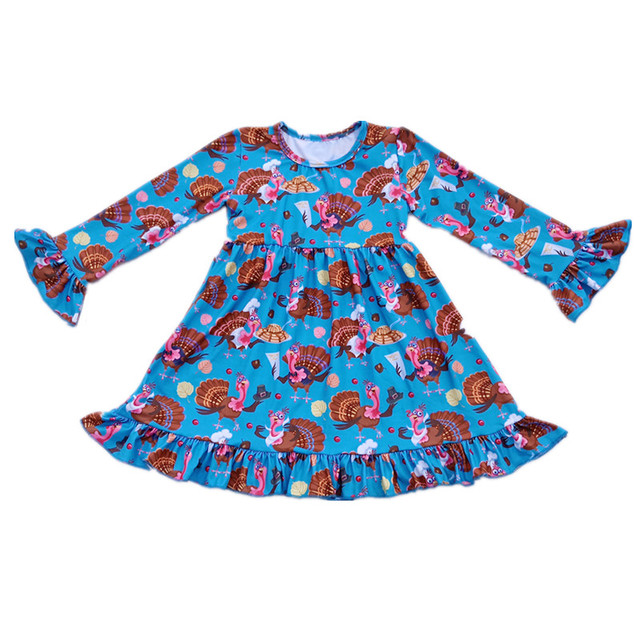b2c415fa1 Thanksgiving baby girls boutique dress wholesale fall/winter little girl  clothing turkey pattern long sleeve ruffle Milk Silk