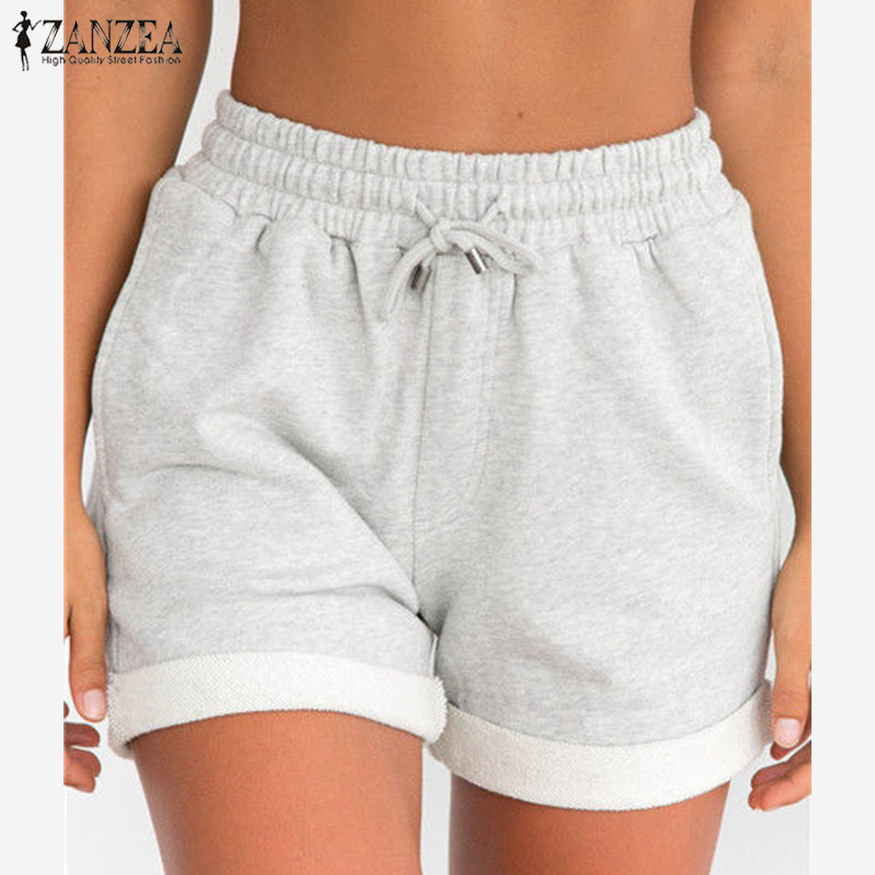 2018 Plus Size ZANZEA Summer Basic Shorts Casual Solid Beach Party Trousers Women Elastic High Waist Lace Up Pockets Shorts NEW