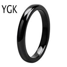 YGK marca 4mm ancho negro Dome carburo de tungsteno anillo para las mujeres y los hombres anillo de regalo de boda