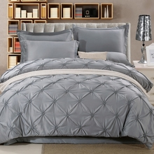 Wongs Bedding Luxury Silk Sets Grey Solid Satin Sheets Bed Linen Cotton Duvet Cover Bedsheet 4PCS Queen King Size
