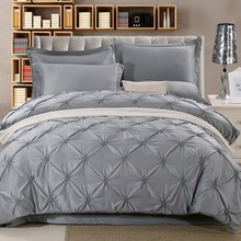 Wongs Bedding Luxury Silk Bedding Sets Grey Solid Satin Sheets Bed Linen Cotton Duvet Cover Bedsheet 4PCS Queen King Size(China)