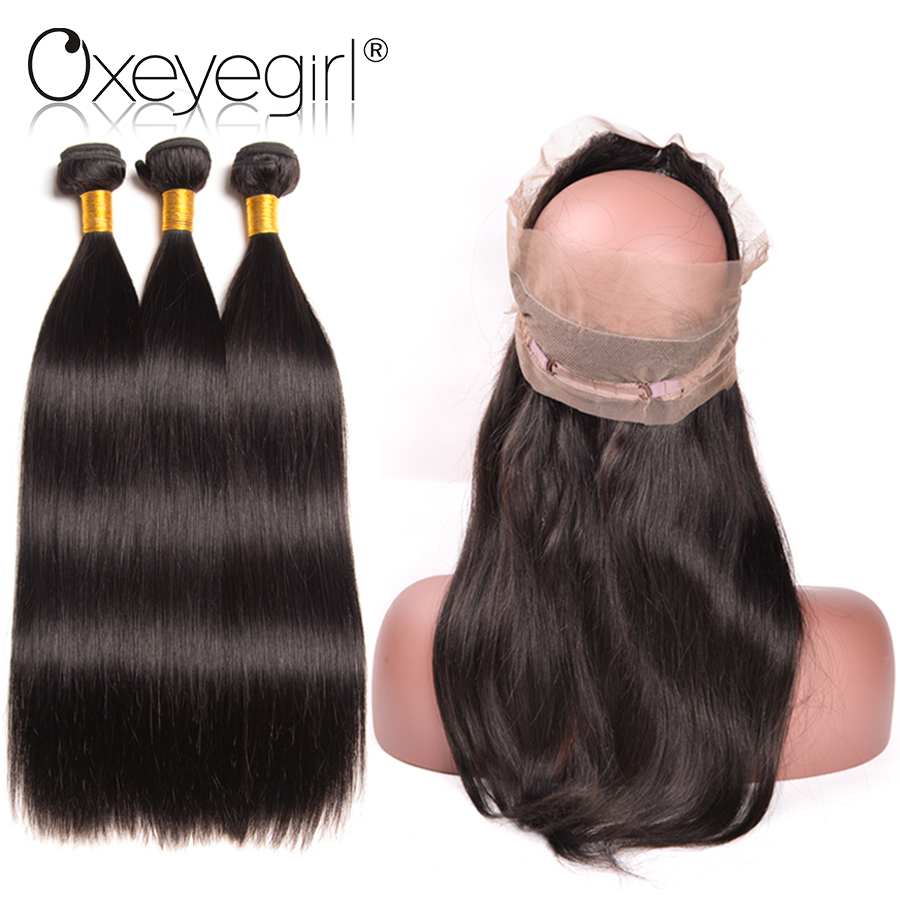 Oxeye Girl 360 Lace Frontal With Bundle Brazilian Straight