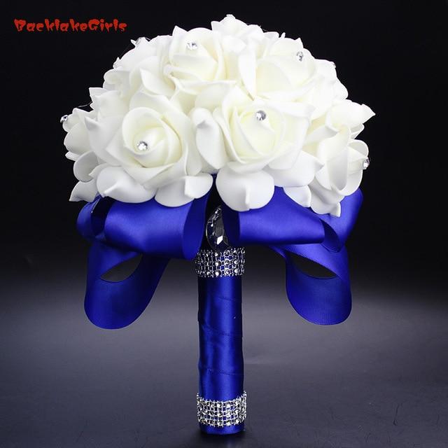 2018 Elegant Royal Blue Purple Red Fuchsia Rose Artificial Bridal ...