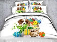 Dog Bedding set Luxury 3D duvet cover sets Cotton bed sheets sheet linen California King Queen size full twin bed in a bag  4PCS цена