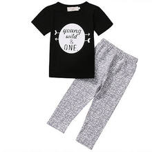 2017 Newborn Baby Boys Kids Set T-shirt young wild one Letter White Round Tops+Gray Pants Leggings Outfit Clothes 2pcs Baby Set(China)