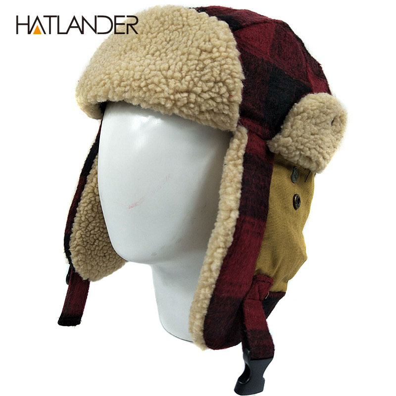Earflap Cap Bomber-Hats Winter Hat Aviator Trooper Snow-Ski Russian Ushanka Women HATLANDER
