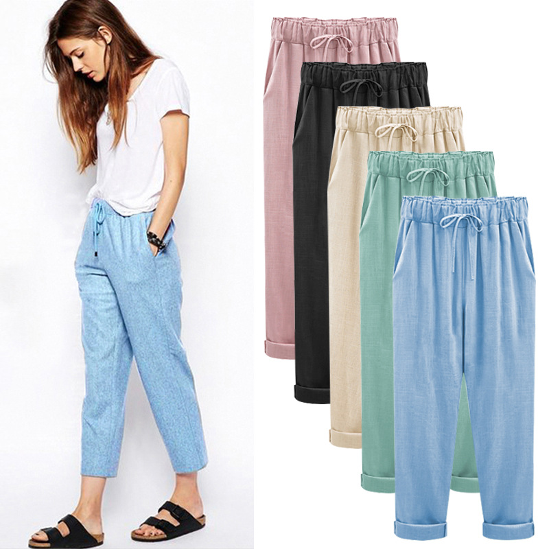 Cotton Linen Pants Plus Size  Elastic High Waist  Ankle Length Casual Women Loose  Spring Pants  8XL