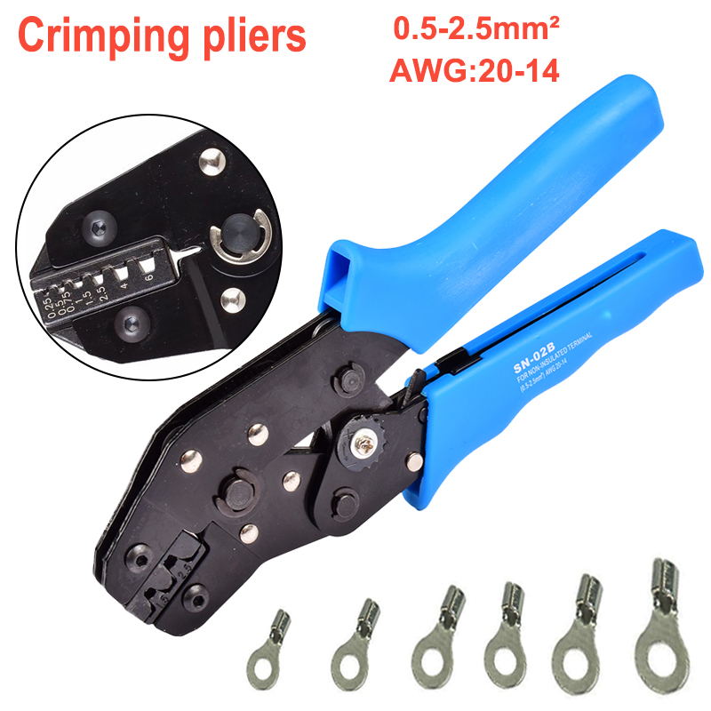 Multi Press Crimping Pliers 0.5-2.5mm2 20-14AWG SN-02B Cable Locking Crimping Tools Terminal Ratcheting Crimper multitools