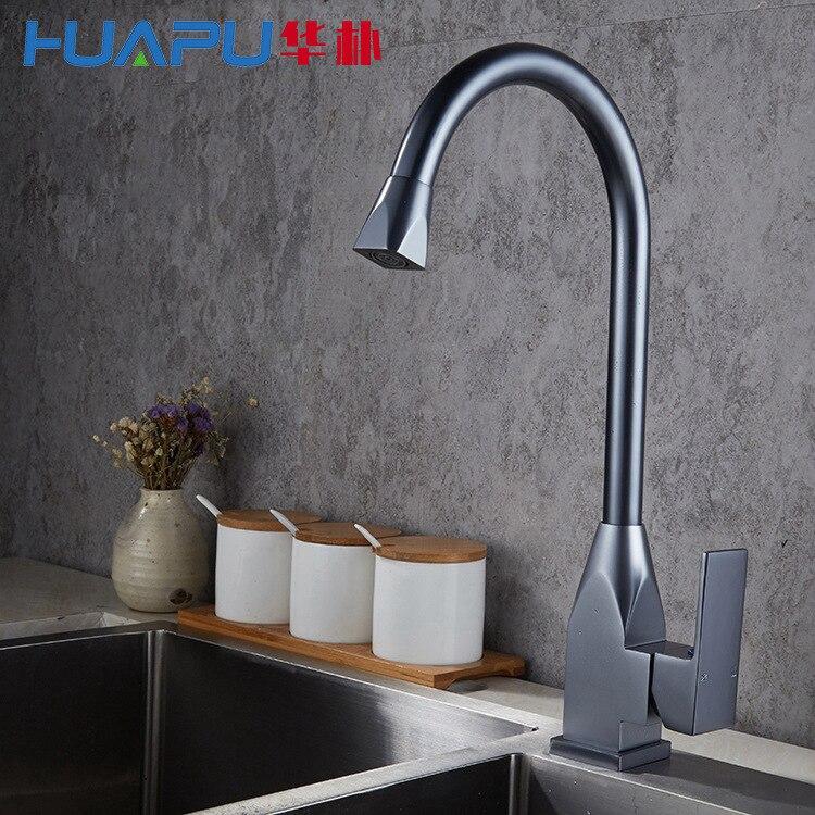 Robinet Vertical cuisine chaud et froid évier mélangeur espace aluminium brossé robinet d'eau robinet pour cuisine/salle de bain lampe douche V - 4