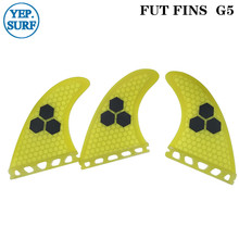 Future G5 Surfing Fin Fiberglass Honeycomb Yellow Color Fins Customized Surfboard