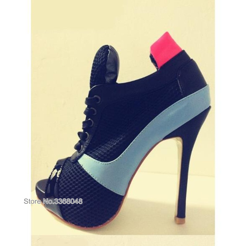 Fashion Woman Ankle Boots Fashionable Lace Up Mesh Designed Sandal Boots Sexy Blue High Heel Open Toe Gladiator Short BootsFashion Woman Ankle Boots Fashionable Lace Up Mesh Designed Sandal Boots Sexy Blue High Heel Open Toe Gladiator Short Boots