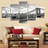 5 pieces city of urban black and white sand-bridge canvas painting decoration office hotel art work wall unframed FA152 1