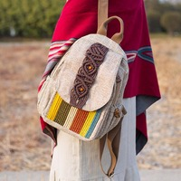 Chinese Style Canvas Linen Casual Backpack Ladies Vintage School Bag Women Travel Features Backpacks Bookbag Gift New Arrival