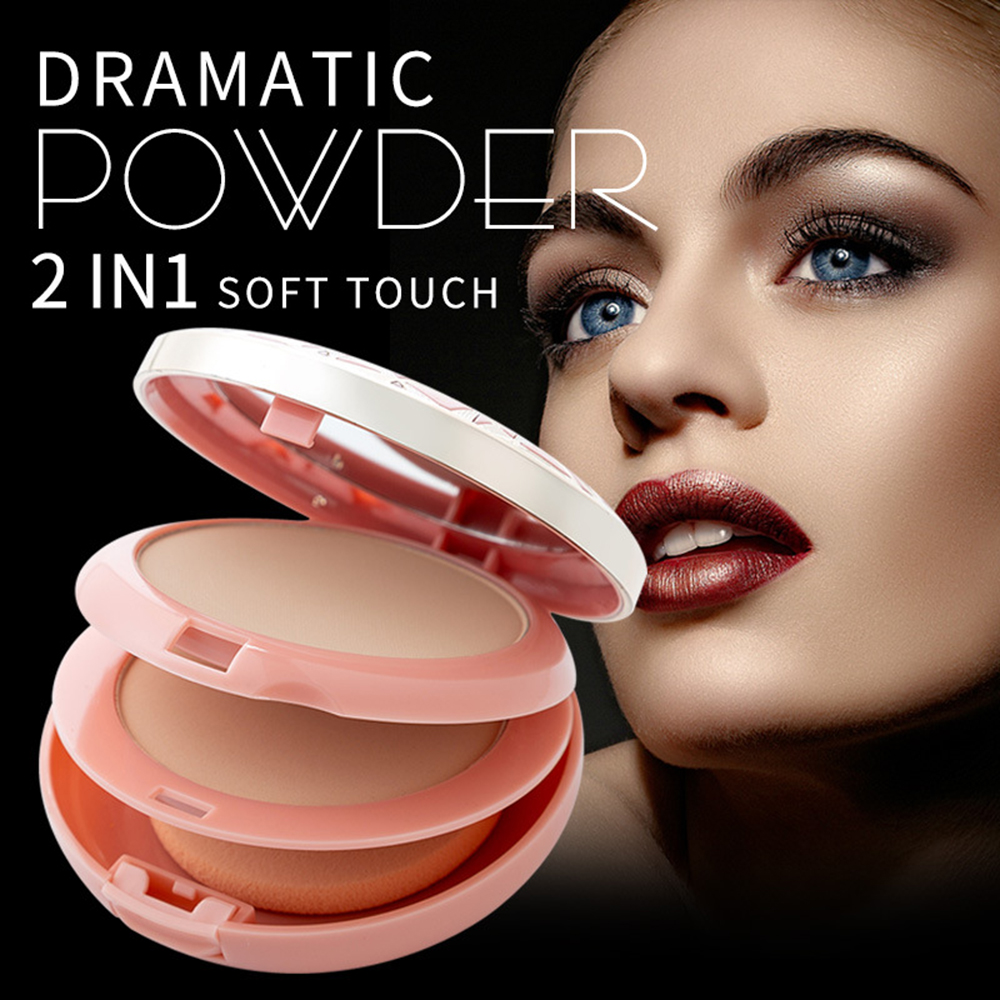 2 Colors Face Makeup Powder Mineral Foundations Oil-control Brighten Pressed Powder With Puff Palette Contour Cosmetics TSLM2 image