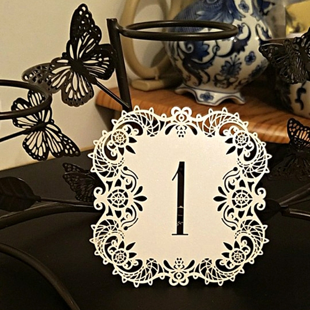 FENGRISE Pieces Table Number Card Laser Cutting Vintage Table - Table numbers restaurant supplies