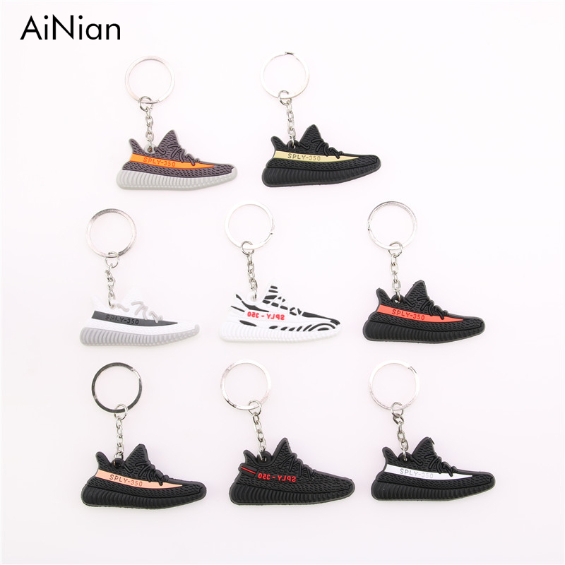 AiNian Mini Silicone YEEZY BOOST 350 V2 Shoes Keychain Bag Charm Woman Men Kids Key Holder Gift SPLY-350 Sneaker Key Chain