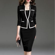 Women Bodycon Dress Suit Plus Size 2 Piece Set Office Wear Outfit Knit Jacket and Dress Spring Autumn Dresses Suits 4XL 5XL 6XL(China)