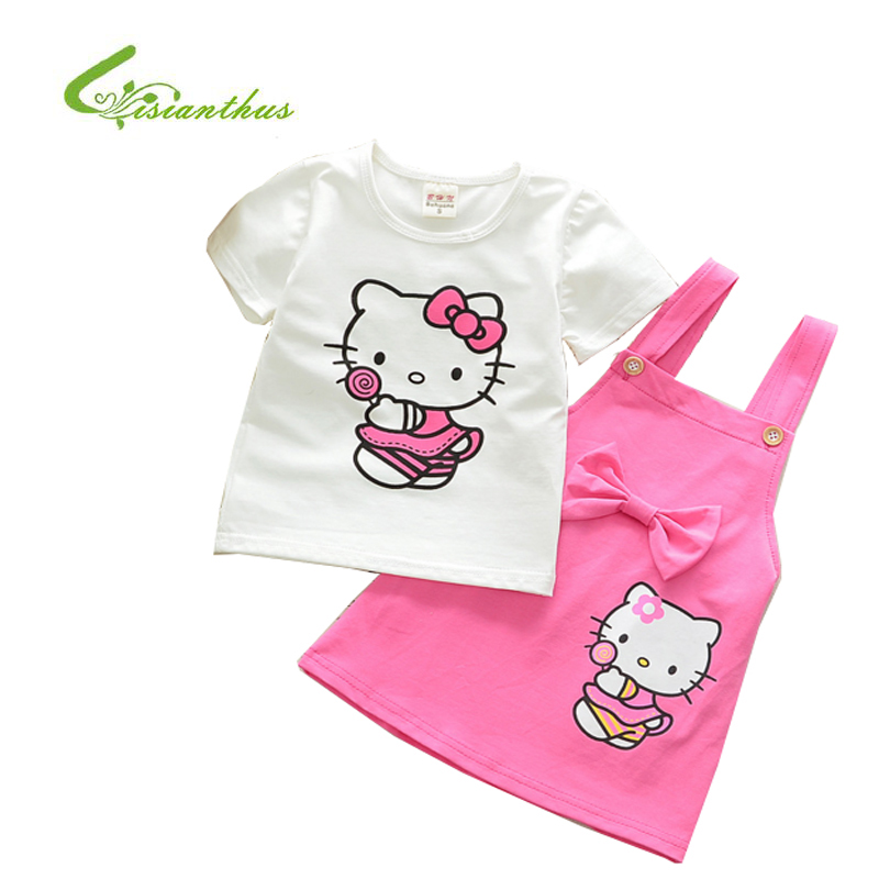 Girls Clothing Sets New Summer Fashion Style Cartoon Hello Kitty Cotton T-Shirts+Strap Skirt 2Pcs Children Clothes Sets 4 Colors cotton cartoon t shirts