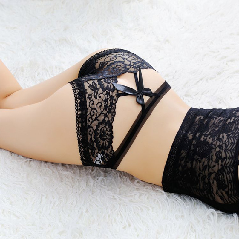 Luckymily New Sexy Women Lace   Panties   Underwear Low Waist Transparent Lace Sexy Underpants Hollow out Briefs With Bow Lingerie