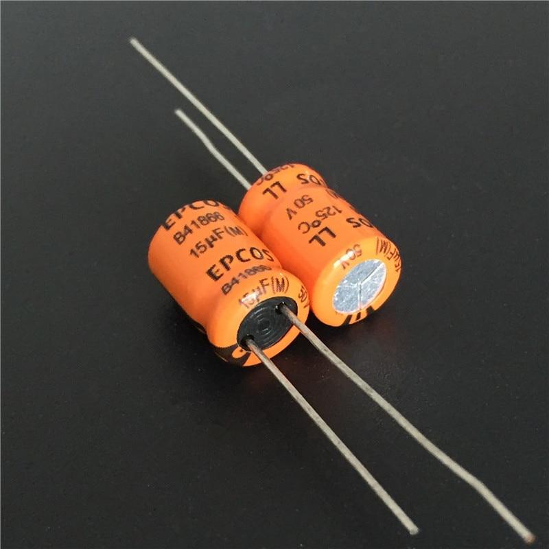 10pcs 15uF 50V EPCOS LL B41866 Series 8x12mm 125degC 50V15uF High Ripple Current Aluminum Electrolytic Capacitor