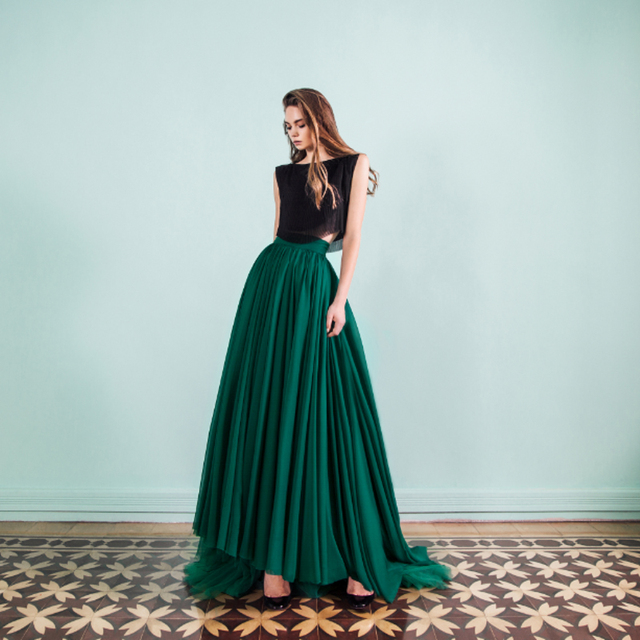 Muslin Formal Style Long Maxi Skirt Zipper Waistline A Line Floor Length  With Train Custom Made Dark Green Tulle Skirts Women 23275c74fba7