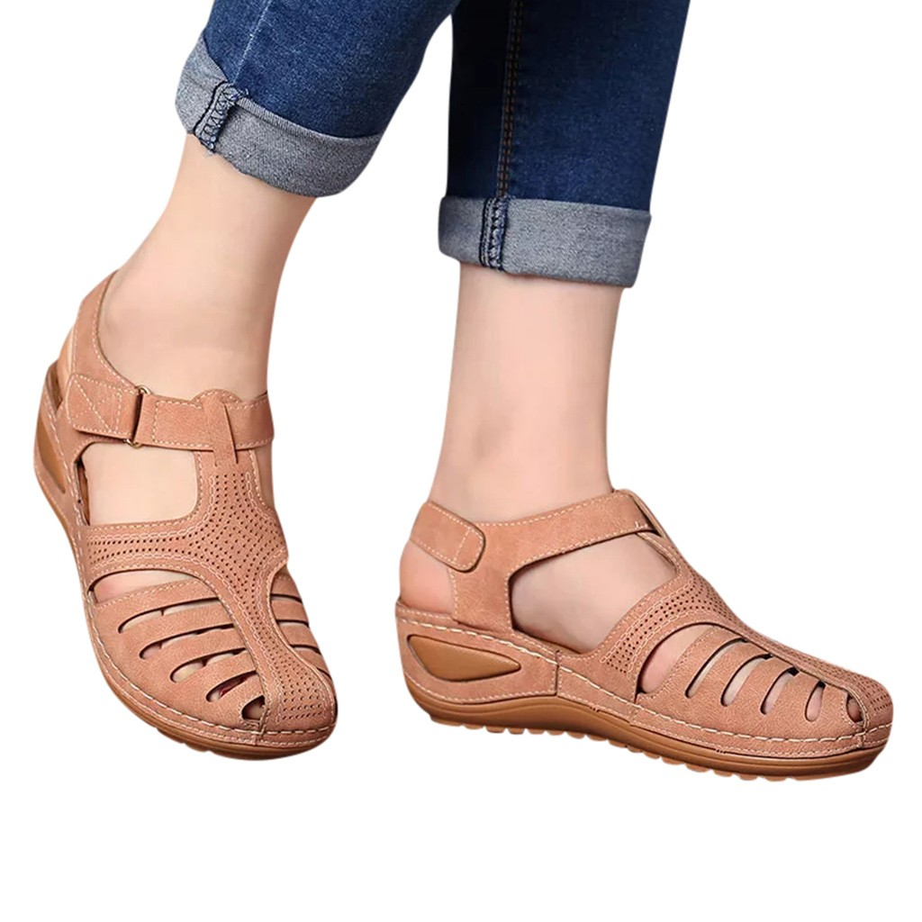 HTB158zgeEGF3KVjSZFoq6zmpFXa7 Women's Sandals Summer Ladies Girls Comfortable Ankle Hollow Round Toe Sandals Female Soft Beach Sole Shoes Plus Size C40#