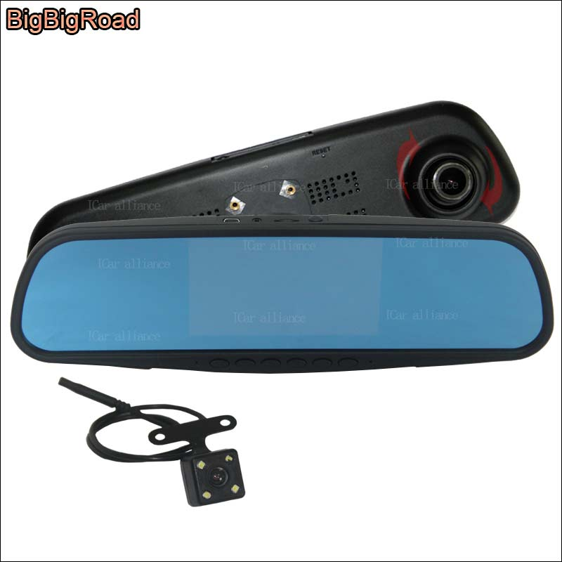 BigBigRoad For ford explorer Car Blue Screen front mirror DVR + rear view camera driving video recorder with Original Bracket